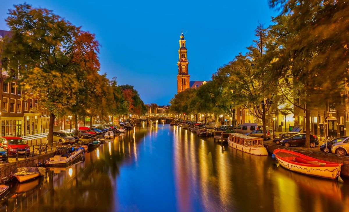 Amsterdam Jordan Canal at Night